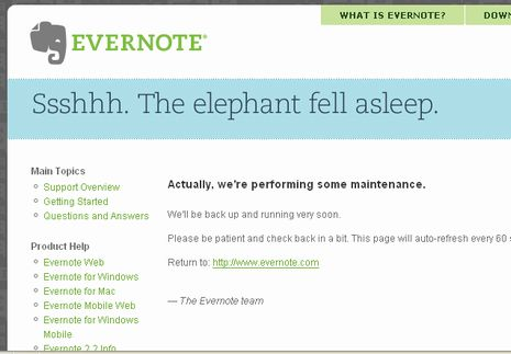 Evernoteの象が眠った